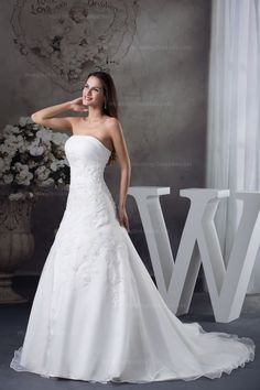 Elegant satin organza wedding dress with appliques and long sleeves' bolero,jacket excluded  A-line/Princess,Floor Length,Dropped,Chapel Train,Square,Strapless,Sleeveless,Appliques,Lace-Up,Satin Organza,Beach/Destination,Church,Garden/Outdoor,Hall,Spring,Summer,Fall,  US$4.98