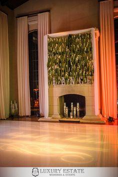 Hanging Green Floral Decor DANCE sign | Wedding Planning & Design by Luxury Estate Weddings & Events | luxuryestateweddings.com