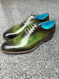 Dominique Saint Paul. Hand coloured whole cut shoes, three colours with patina.