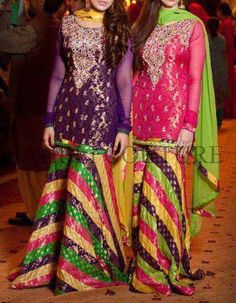 I like the idea of same design in different color for each girl. Maybe we can lengthen the shirt to right above the knees.   Mehndi dress Check out more desings at: http://www.mehndiequalshenna.com/