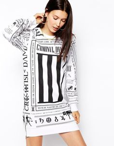 Shop Criminal Damage Oversized Sweat Dress With Scorpian Letter Print at  ASOS. 1b6a8ea82f