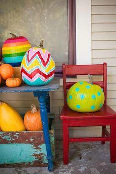 Paint your pumpkins! More fall decor ideas @BrightNest Blog polka dots, halloween pumpkins, pumpkin decorating, painted pumpkins, paint pumpkin, pumpkin painting, bright colors, parti, kid