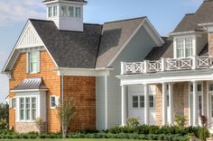 Home Exterior Siding Ideas. This home exterior features James Hardie beaded siding on the main house and straight siding on all the dormers with no bead. Artisan Signature Homes. Colonial Exterior, Modern Farmhouse Exterior, Exterior Design, Exterior Siding, Exterior Paint, Exterior Homes, Space Architecture, Residential Architecture, Custom Home Builders