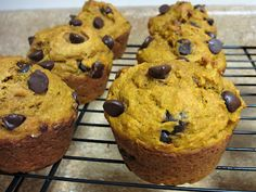 These were good made entirely with whole wheat flour and a whole cup of choc chips! Love to be in the Kitchen: Whole Wheat Pumpkin Chocolate Chip Muffins