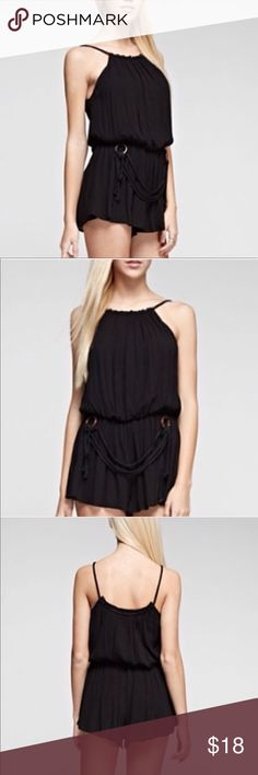 "S a l e | Black Romper Adorable romper from Tea & Cup. Spaghetti strap with a synched waistline and a rope belt. This style runs small so I suggest ideally for an XS or a ""shorter"" small. It could also be worn as a cover-up. Bust size is mot a concern regarding sizing. It is lined. Tea n Cup Other"
