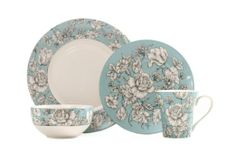 Amazon.com: 222 Fifth 16-Piece Dinnerware Set, Country Toile, Service for 4: Kitchen & Dining
