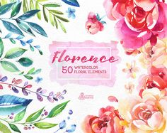 50 Watercolor floral Elements hand by OctopusArtis Skull With Horns, Hortensia Hydrangea, Watercolor Flowers, Art Flowers, Watercolor Wedding, Floral Wedding Invitations, Wedding Stationery, Watercolor Illustration, Florence