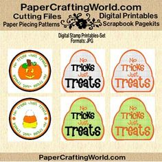 Trick Or Treat Halloween Printable Tags. http://www.papercraftingworld.com/item_1470/No-Tricks-Just-Treats-Tag-Set-DS.htm