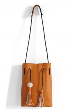 Chic Bucket Bag with Tassel Decor in Camel - Retro, Indie and Unique Fashion