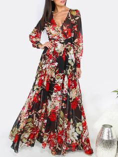 Shop Black Floral Print Cuff Sleeve Surplice Wrap Dress online. SheIn offers…