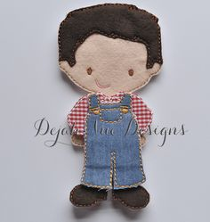 Non Paper Dolls offered by Stone House Stitchery **Outfit Only** Farm Boy Outfit Non Paper Doll Embroidery Design