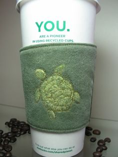 Sea Turtle Coffee Cup Sleeve Cozy by CreamNoSugar on Etsy, $8.50