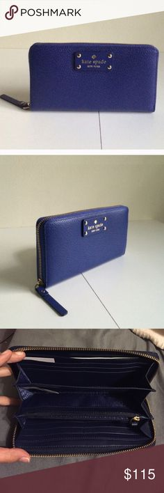 Kate Spade neda wellesley wallet New with tag and care card. Leather, frenchnavy color with gold hardware. Zipped closure with one interior zipped change pocket and many card slots. kate spade Bags Wallets