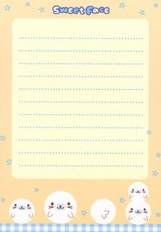 Kawaii letter paper - Sweet Face - Seal