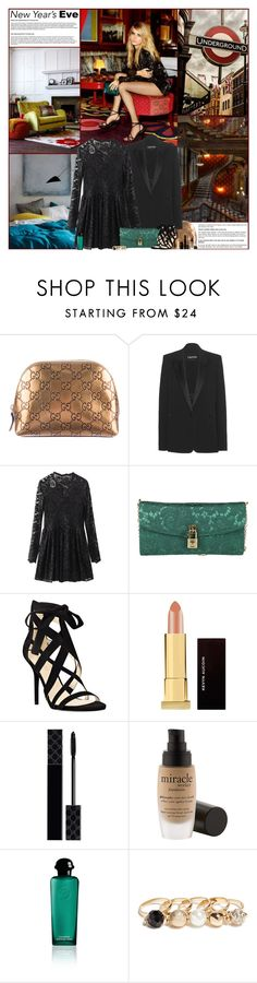 """New Years Eve In London"" by kittyfantastica ❤ liked on Polyvore featuring JULIANNE, West Elm, Gucci, Tom Ford, Nine West, Kevyn Aucoin, philosophy, Hermès and GUESS"
