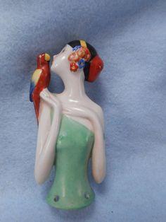 Antique Vintage Porcelain Half Doll Pincushion Flapper Art Deco Parrot Germany #ArtDeco