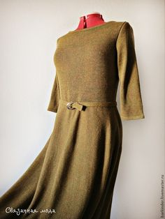 """Вязаное длинное платье """"Модная штучка"""" - оливковый,однотонный,платье,вязаное платье"""