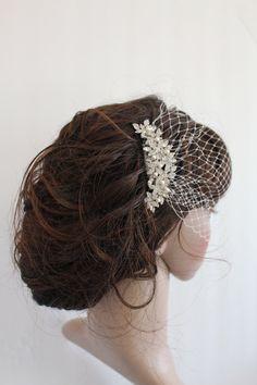 Bridal fascinatorbridal Swarovski Pearls by Angelbridalshop, $76.00