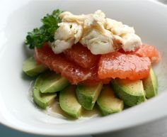 Crab, Grapefruit and Avocado Salad. You may not have thought it, but it is good.