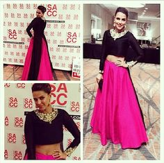 No one does pink better then Neha Dhupia, Get this look by Payal Singhal only at Stage3.co  #NehaDhupia #PayalSinghal  #DesignerOutfitsOnline #GetTheLook #Stage3