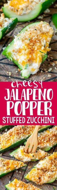 Jalapeño Poppers + Zucchini Boats = OMG YES!!!! These easy cheesy Jalapeño…