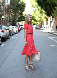 wayf-red-coral v-neck-midi-dress-b-low-the-belt-brown-double-buckle-belt-casual-work-wear-friday-professional-office-women-style-fashion-blog-san-francisco-mary-orton-memorandum1