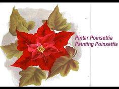 ▶ Pintar Poinsetia , flor de pascua . Painting poinsettia one stroke - YouTube