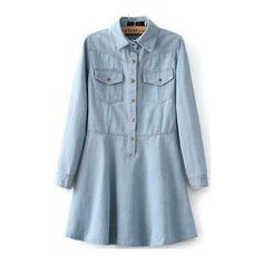 Light Blue Lapel Denim Flare Dress ($20) ❤ liked on Polyvore featuring dresses, blue, flared dress, knee-length dresses, sleeve dress, denim dress and flare dress