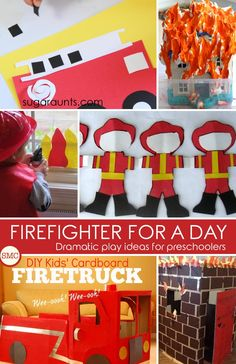 So many wonderful firefighter dramatic play ideas to do with the kids!