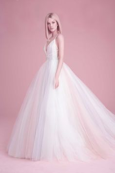 See our favorite colored wedding dresses from the best bridal designers—from red wedding dresses to pink wedding dresses to black wedding dresses! Pastel Wedding Dresses, Designer Wedding Dresses, Wedding Gowns, Hair Wedding, Bride Dresses, Bridal Gown, Bridesmaid Dresses, Tulle Ball Gown, Ball Gowns