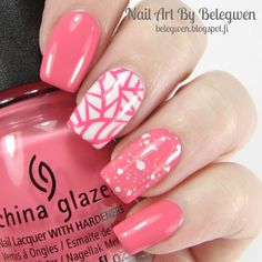 Nail Art By Belegwen: China Glaze Pinking Out The Window, Gina Tricot White and Snow