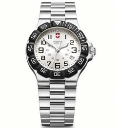 Victorinox Mens Silver Dial Summit XLT Watch 241346.  This Mens Victorinox watch has a stainless steel case which is set around a silver dial with luminescent hands and index, and date window. It features shock-resistant hardened mineral crystal, screw-in caseback, date calendar and unidirectional rotating bezel. A stainless steel bracelet completes the look. Water resistant to 100M.