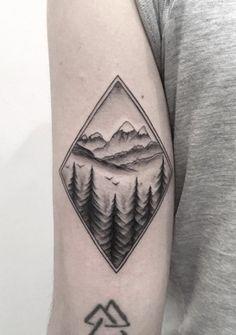 Diamond-Shaped Landscape Tattoo by Max Lesquatt