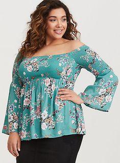 aba4589e3a5 Plus Size Turquoise Floral Smocked Challis Babydoll
