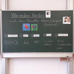 """""""BIRDIES nach Hans Langner"""" ... voran ging eine Bildbetrachtung von Werken Hans Langners. Die Schüler erkannten schnell die typischen…"""