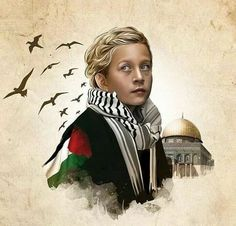 Free Ahed Tamimi and all Palestinian prisoners. Palestine Art, Palestine History, A Level Art Sketchbook, Islamic Cartoon, Golden Child, Cross Paintings, Love Images, Oppression, Jerusalem