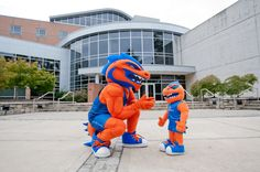 Clayton State Dragon mascot... and his little pal.
