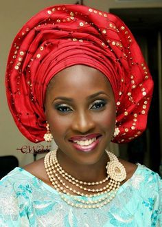 Oh, I love your hat! - Beautiful-Red-Gele-Blue-Lace