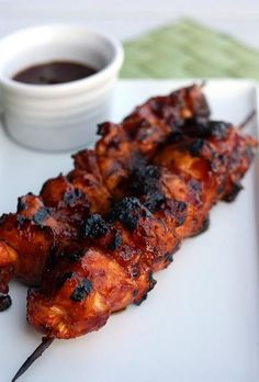 Barbecued Chicken Kabobs. Sweet and spicy!!