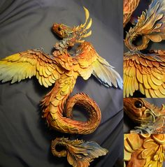 An amazing sea dragon from Creaturesfromel.ca, love the colors, would have been great for a Phoenix too!