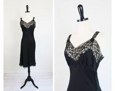 Vintage 1940's The Most Sensual Black Bias Cut Silk Slip with Lace #lingerie #vintage  $72