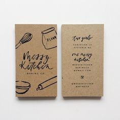 Kraft business cards for Messy Kitchen Baking Co. Love the stylistic illustrations and type to create a 'messy' style - this authenticity of a kitchen/ baking environment is really enhanced through the use of Kraft material.