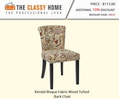 Kendal Bisque Fabric Wood Tufted Back Chair