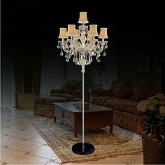 7 light candelabra lights free shipping modern candle holders crystal floor lamps foyer hotel vintage floor light with lampshade