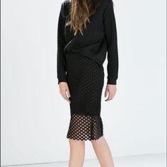 Zara Black Lace Pencil Skirt Zara Black Lace Pencil Skirt- back zipper closure - never worn, excellent condition! Zara Skirts Pencil