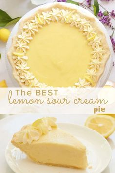 Lemon Desserts, Lemon Recipes, Easy Desserts, Sweet Recipes, Delicious Desserts, Pie Dessert, Dessert Recipes, Cake Recipes, Sour Cream Lemon Pie Recipe