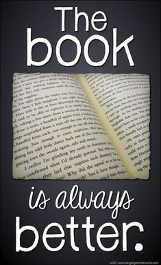 The book is always better. Especially for Percy Jackson<------so true! (Side note the book on the picture is Hunger games) Percy Jackson, I Love Books, Books To Read, My Books, Reading Quotes, Book Quotes, Library Quotes, Reading Posters, Game Quotes