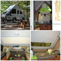 From the first day she came home with us we started adding some homey touches to the Aliner. Pillows, nice bedding from the old camper, a 'paper' lantern with a led battery operated light, bins under the table because if there is the slightest chance of adding storage, I'm going to do it.