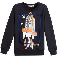 MSGM Boys Navy Blue Jersey Sweatshirt with Space Rocket at Childrensalon.com