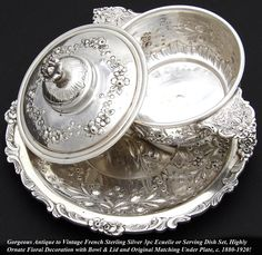 Antique French Sterling Silver 3pc Ecuelle, Bouillon or Caviar Serving Set, Highly Ornate